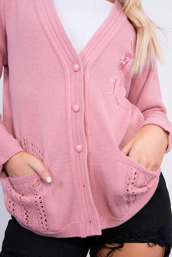 Pink Embroidered Knit Cardigan