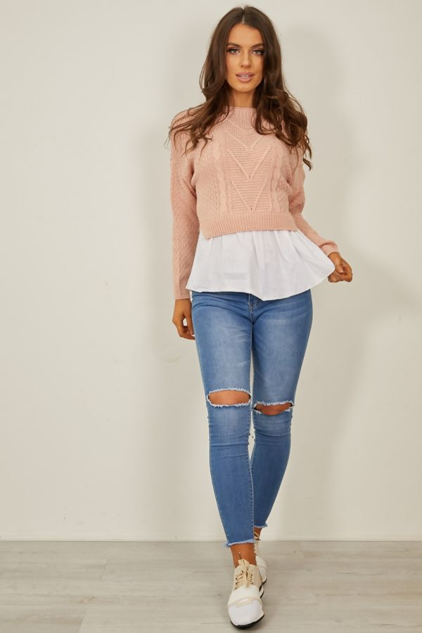 Pink Frill Knitted Shirt Jumper
