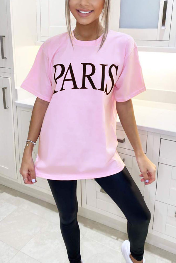 Pink PARIS Oversized Tee