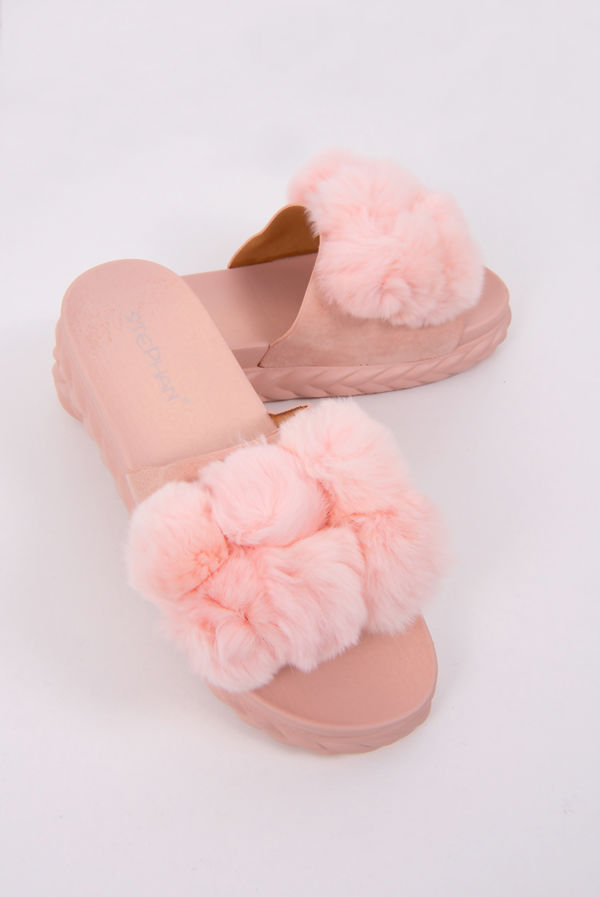 Pink Pom Pom Flatform Sandals