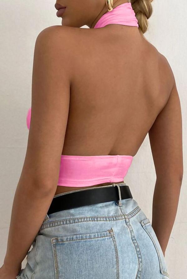 Pink Slinky Cross Front Halterneck Crop Top