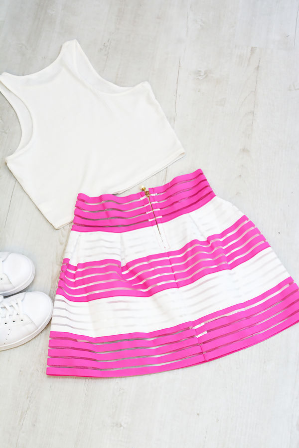 Pink Striped Skirt