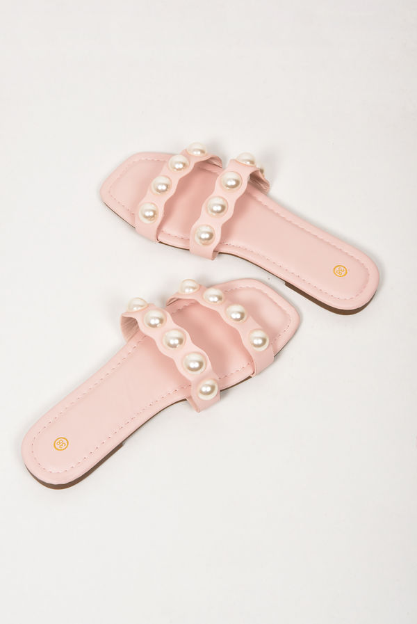 Pink Twin Pearl Strap Sandals