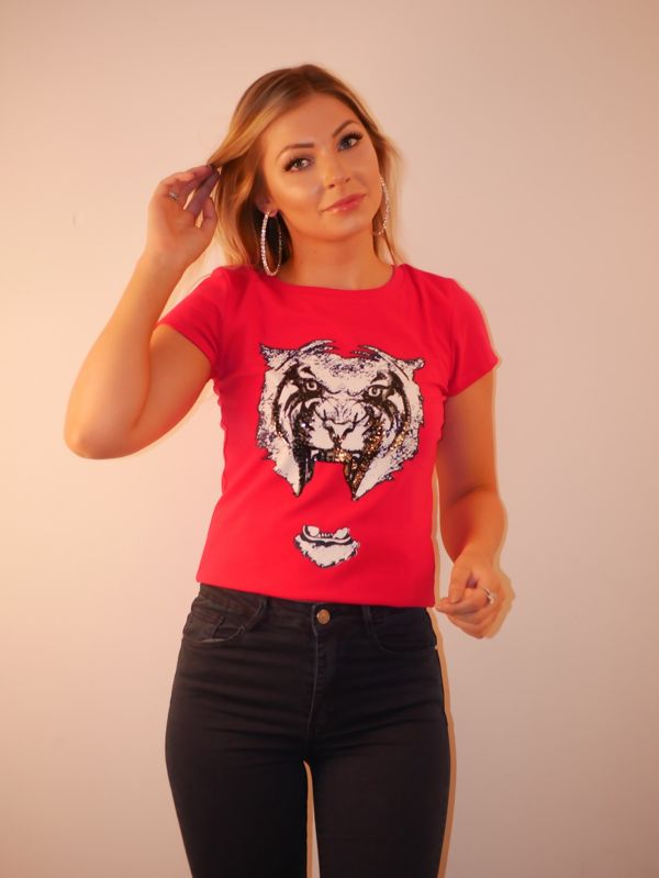 Plum Tiger Print Sequin T-shirt