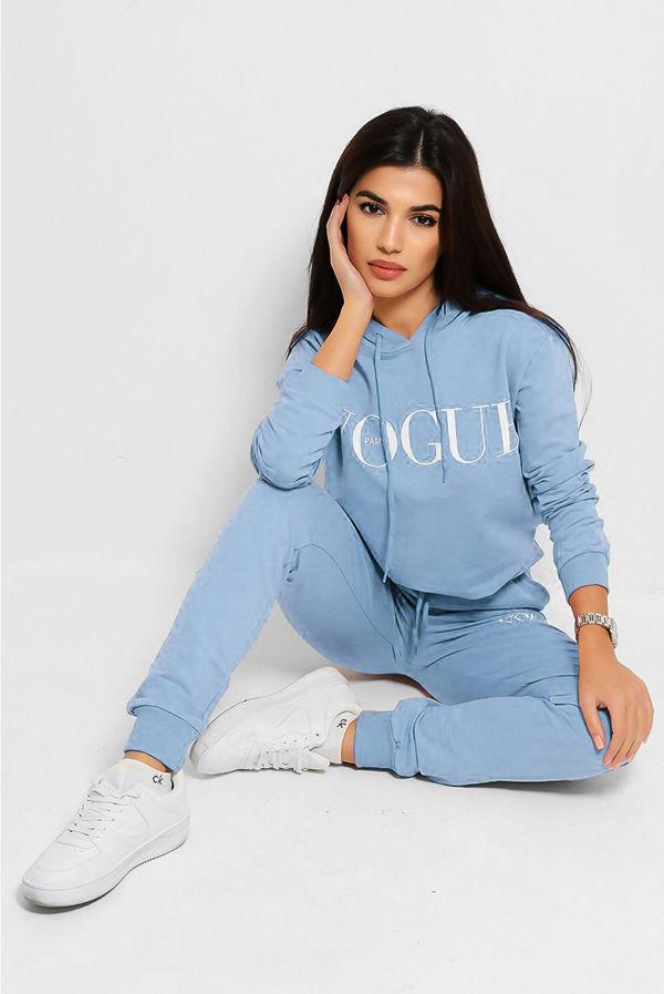 Plus Size Baby Blue VOGUE Hooded Loungewear Set