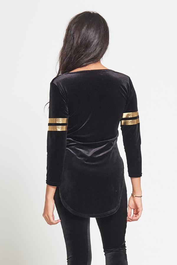 Plus Size Black Boss Lady Velvet Top