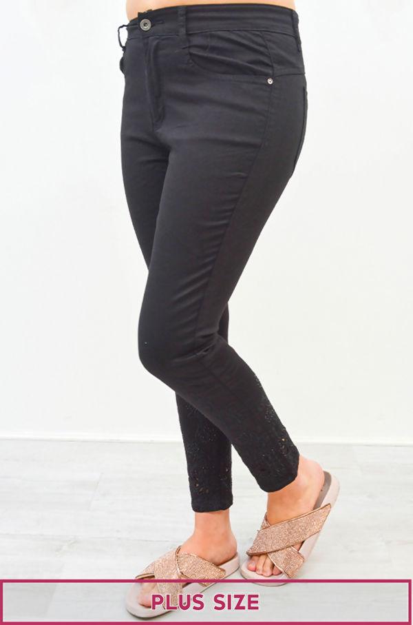 Plus Size Black Curve Embroidered Hem Denim Jeans