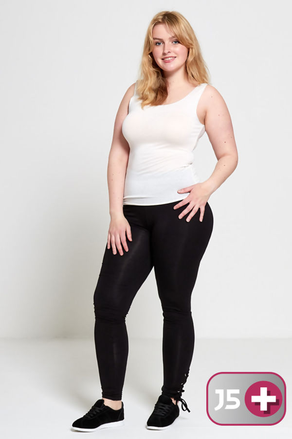 Plus Size Black Curve Eyelet Lace-Up Hem Leggings