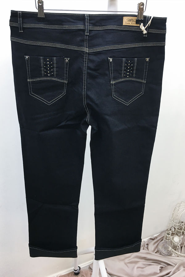 Plus Size Black Diamante Pocket Detail Jeans