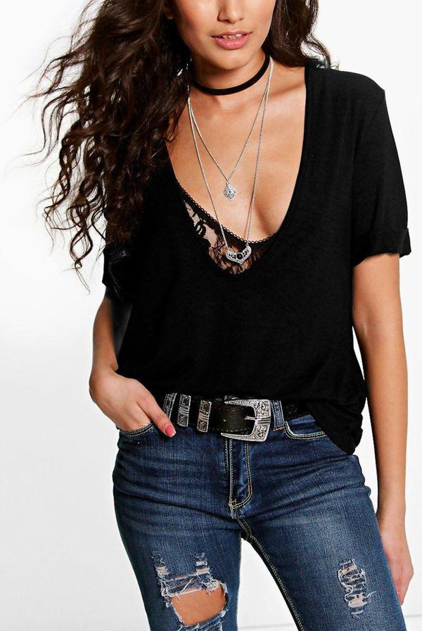 Plus Size Black Extreme V Front Oversized T-Shirt