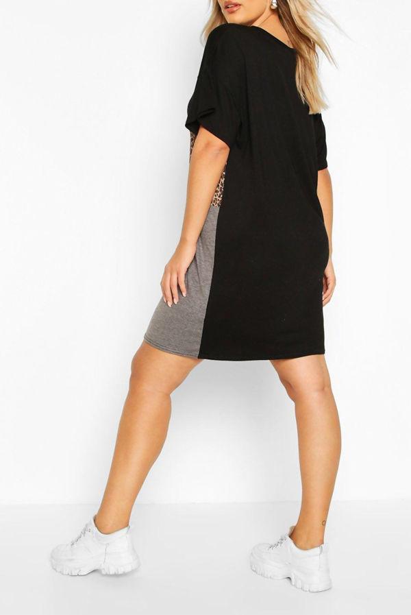 Plus Size Black Leopard Contrast Panel T-Shirt Dress