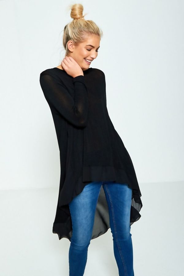 Plus Size Black Lightweight Knit Fishtail Top