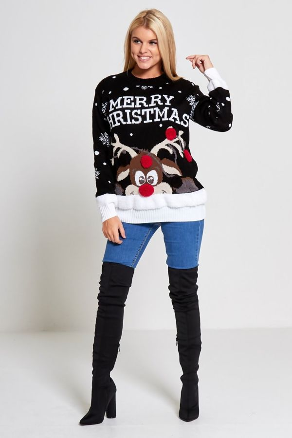 Plus Size Black Merry Christmas Reindeer Knitted Jumper