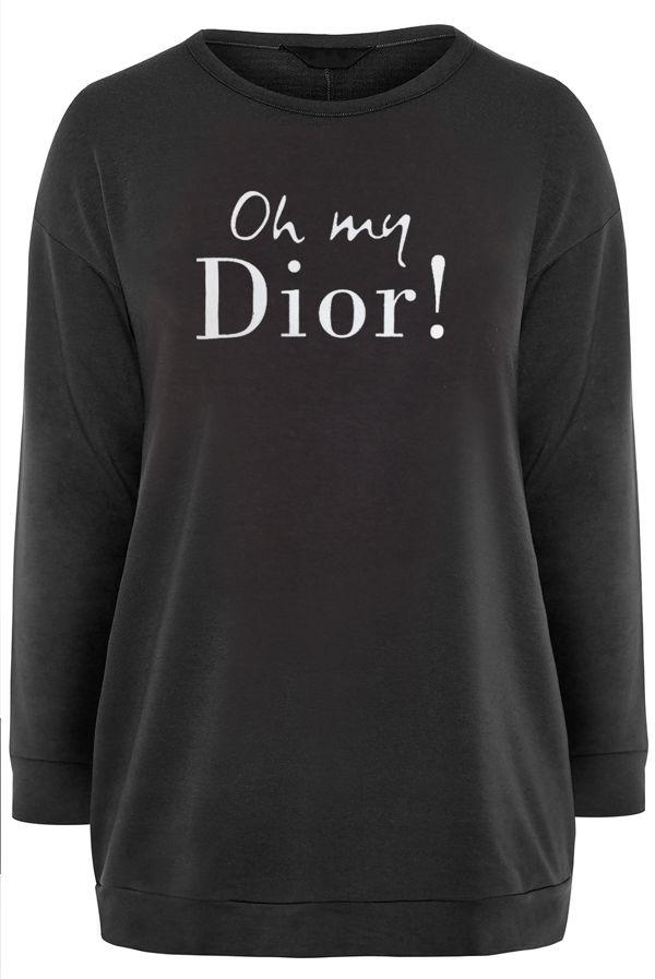 Plus Size Black Oh My Dior! Print Jumper