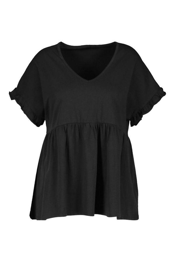 Plus Size Black Ruffle Sleeve V Neck Smock Top
