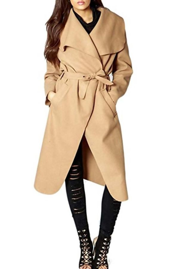 Plus Size Camel Waterfall Drapped Duster Coat