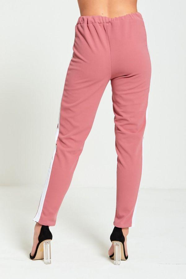 Plus Size Dusty White Stripe Knot Belt Trouser