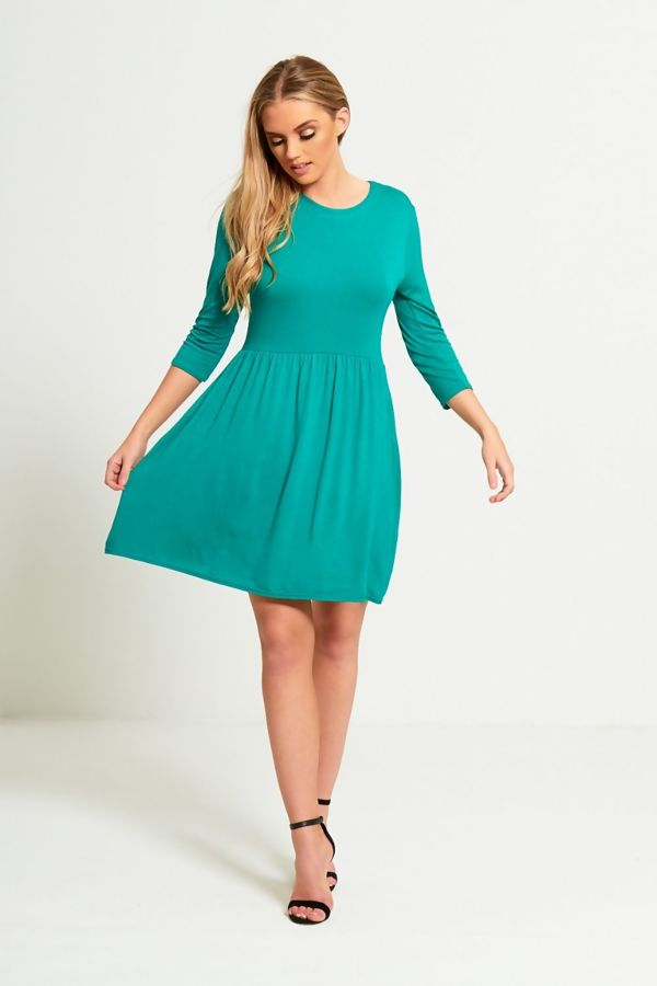 Plus Size Green Plain Basic Skater Mini Dress