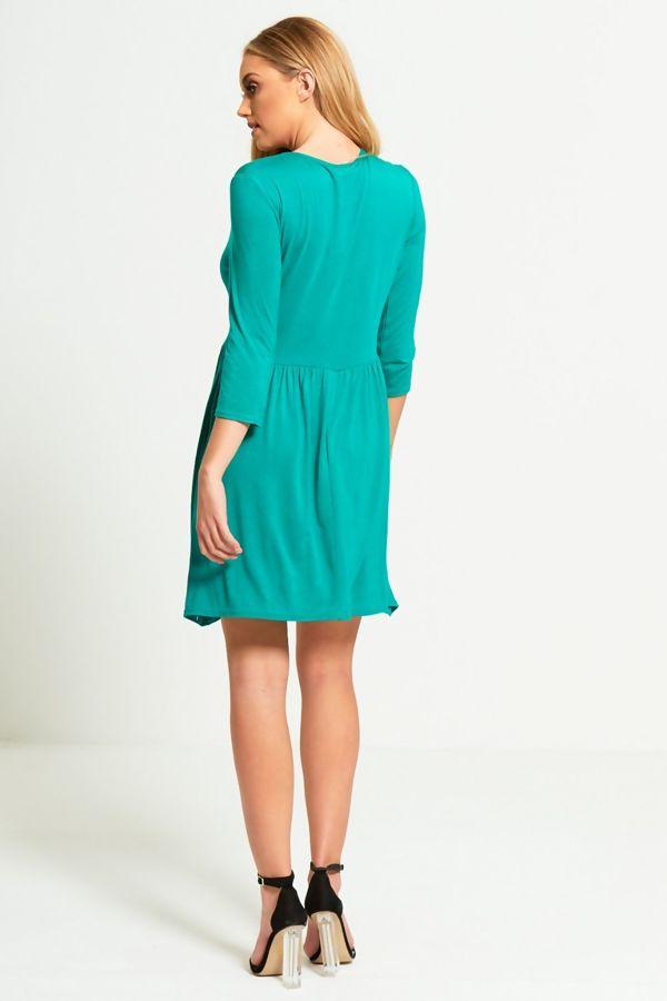 Plus Size Green Plain Basic Skater Mini Dress