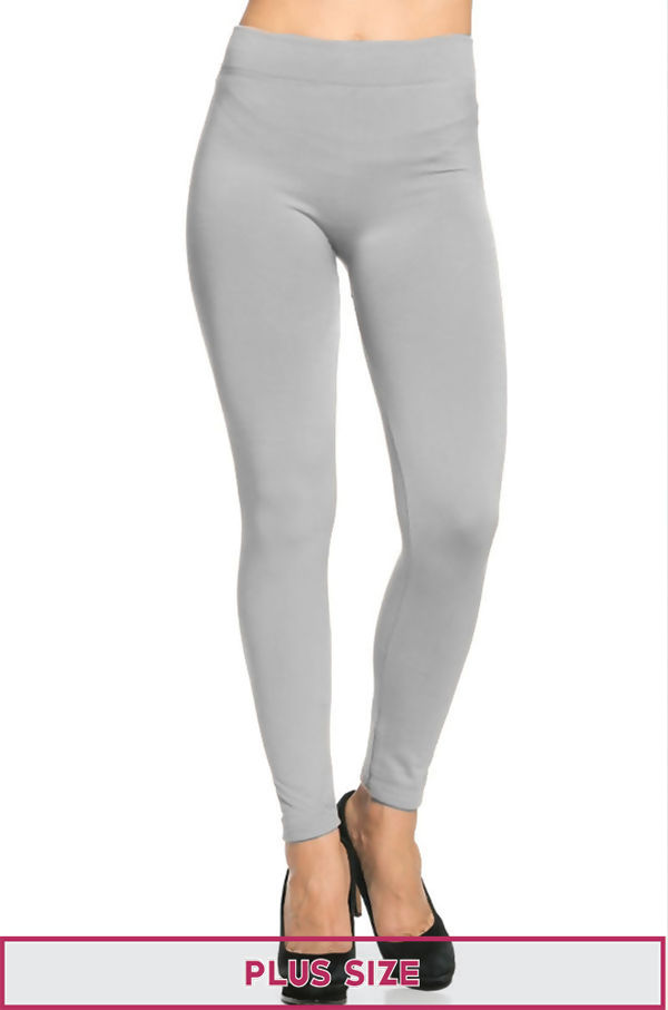 Plus Size Grey Fleece Leggings