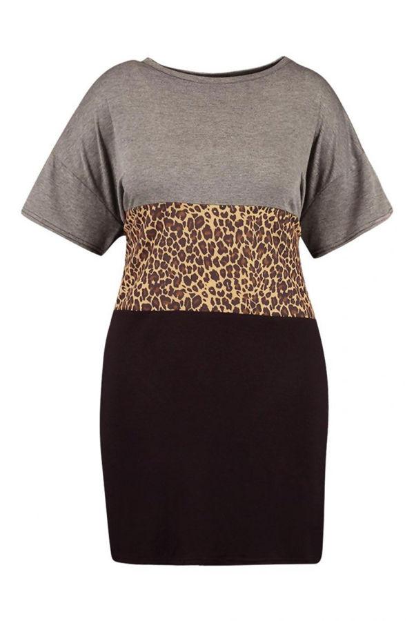Plus Size Grey Leopard Contrast Panel T-Shirt Dress