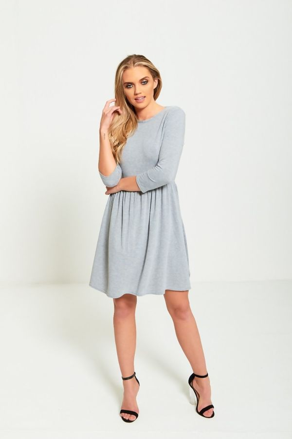 Plus Size Grey Plain Basic Skater Mini Dress