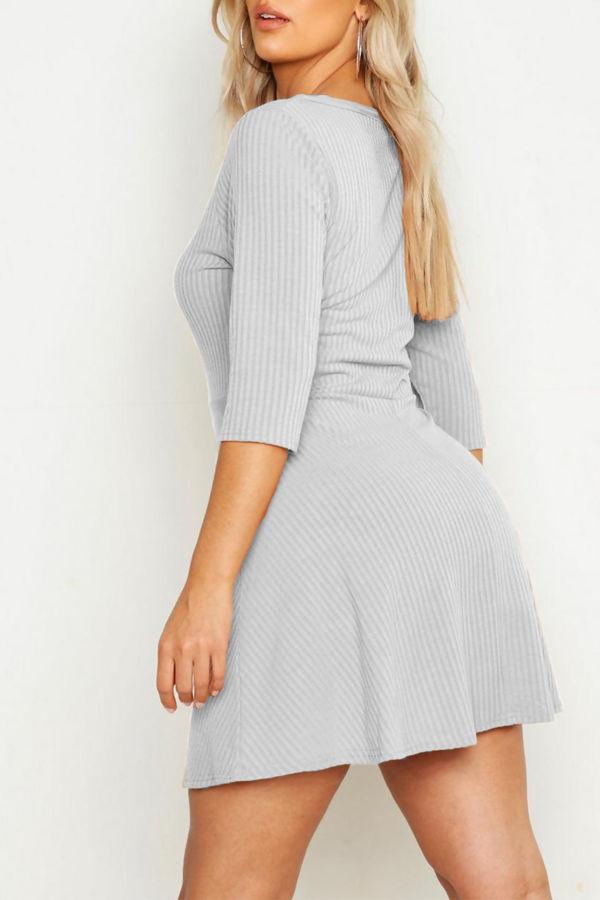 Plus Size Black Soft Rib Zip Front Skater Dress