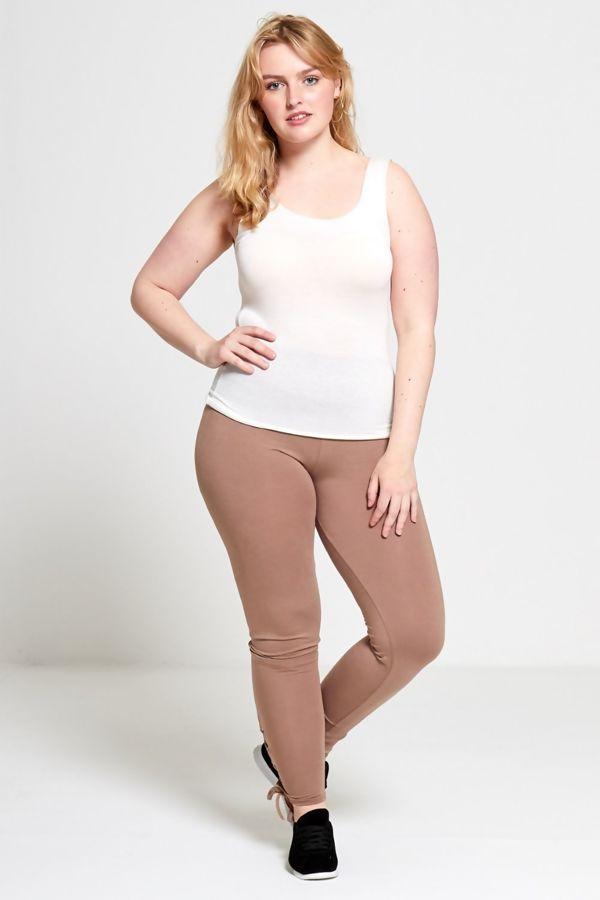 Plus Size Mocha Curve Eyelet Lace-Up Hem Leggings