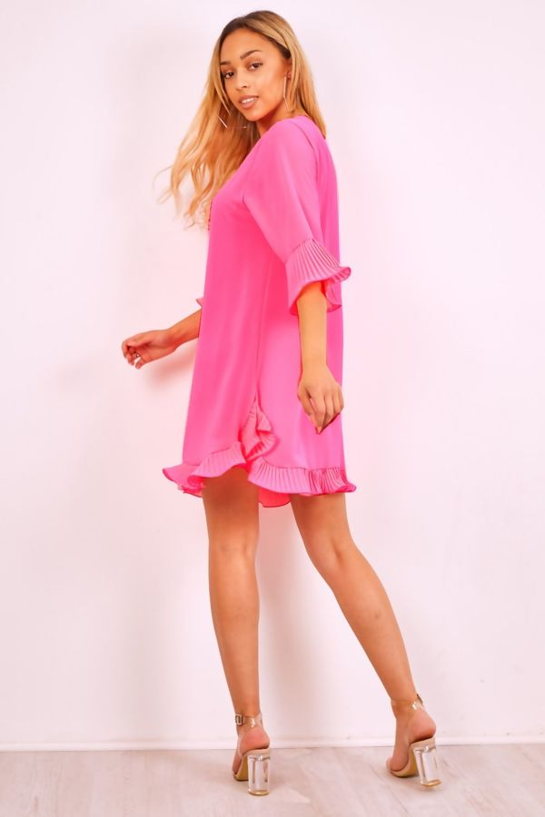 Plus Size Neon Pleated Frill Swing Dress