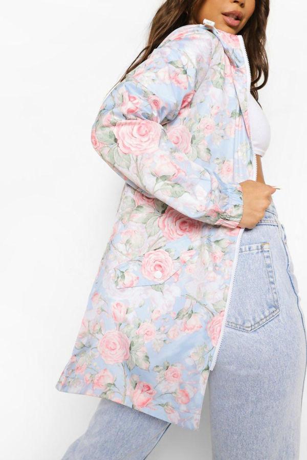 Plus Size Pastel Blue Floral Print Festival Mac