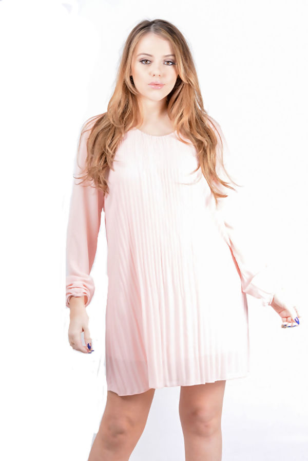 Pleated Overlay Flounce Dress