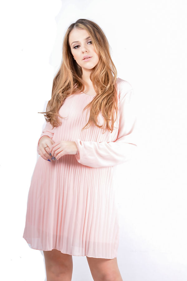 Plus Size Pleated Overlay Flounce Dress