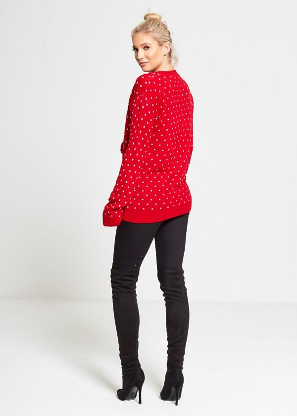Plus Size Red Rudolph Pom Pom Knitted Christmas Jumper