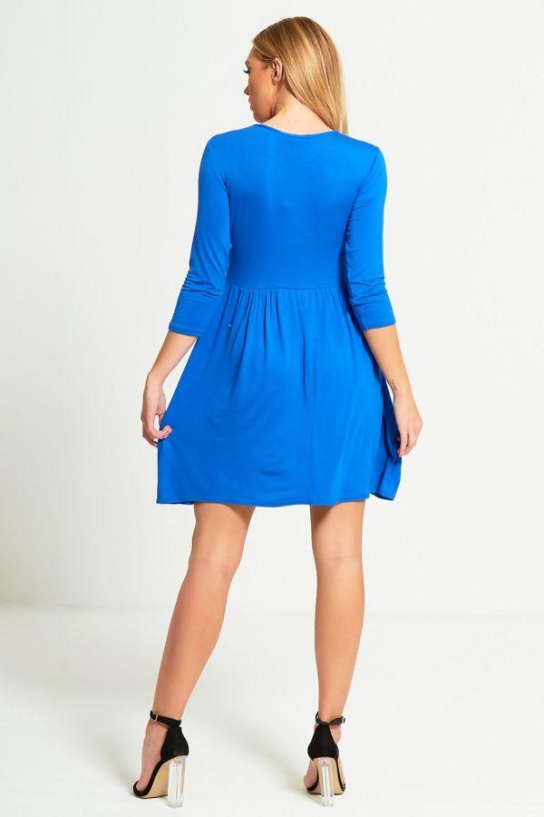 Plus Size Royal Plain Basic Skater Mini Dress