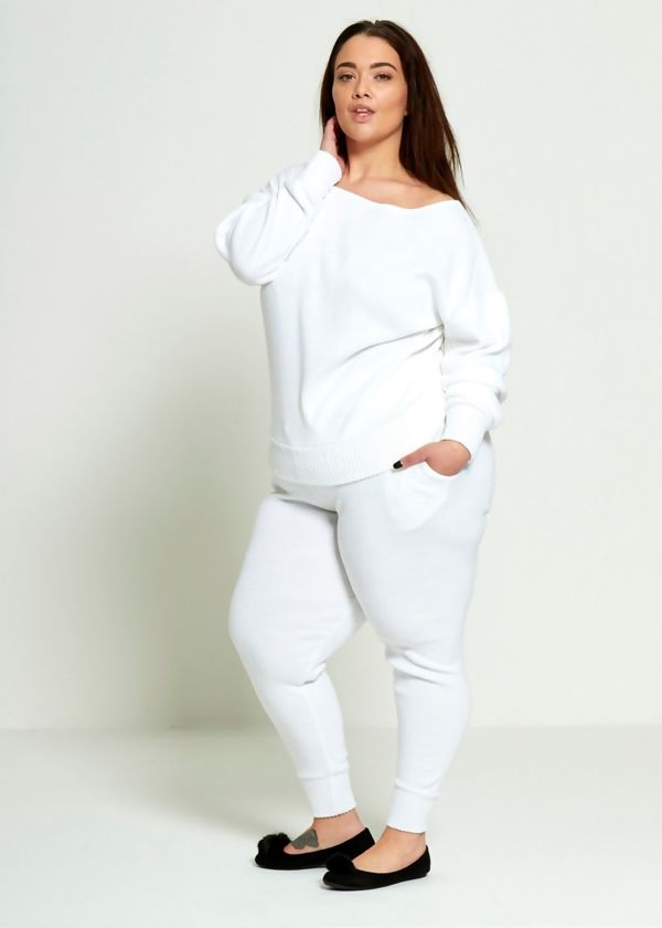 Plus Size White Lounge Wear Set