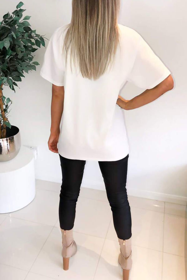 Plus Size White Paris Printed Oversized Tee