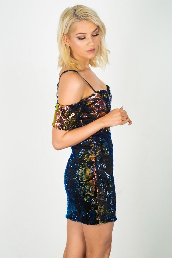 Premium Sequinned Cold Shoulder Mini Dress