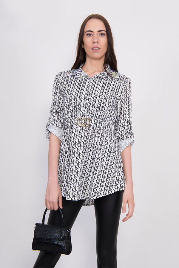 Printed Belted Blouse