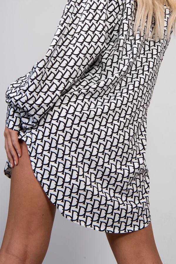 White Printed Shirt Dress