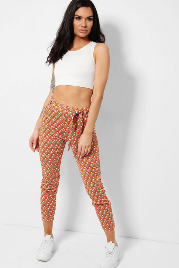 Printed Tie Waist Tapered Trousers