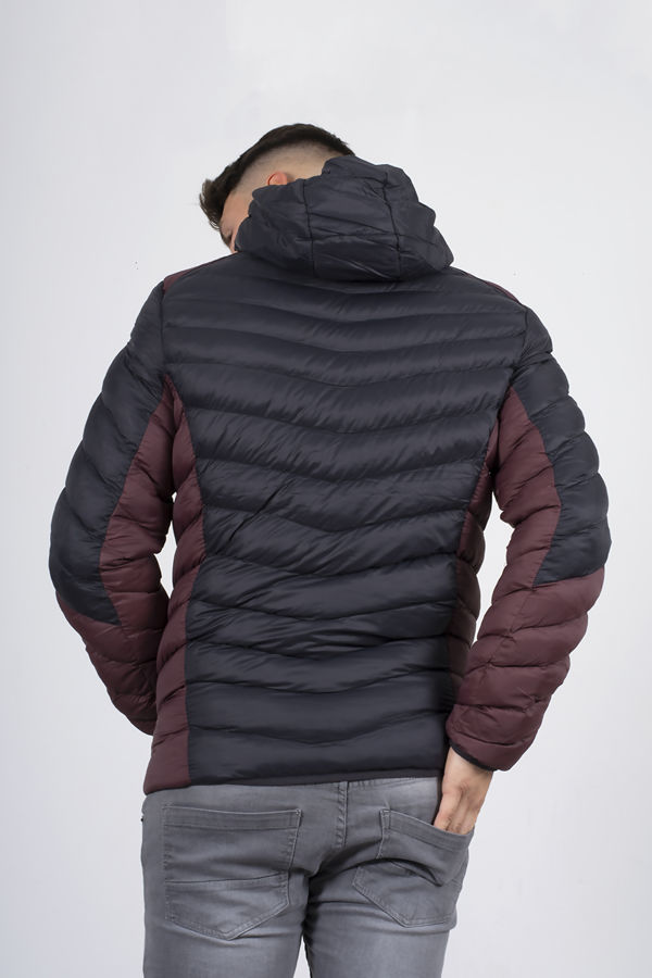 Black With Burgundy Two Tone Puffer Jacket
