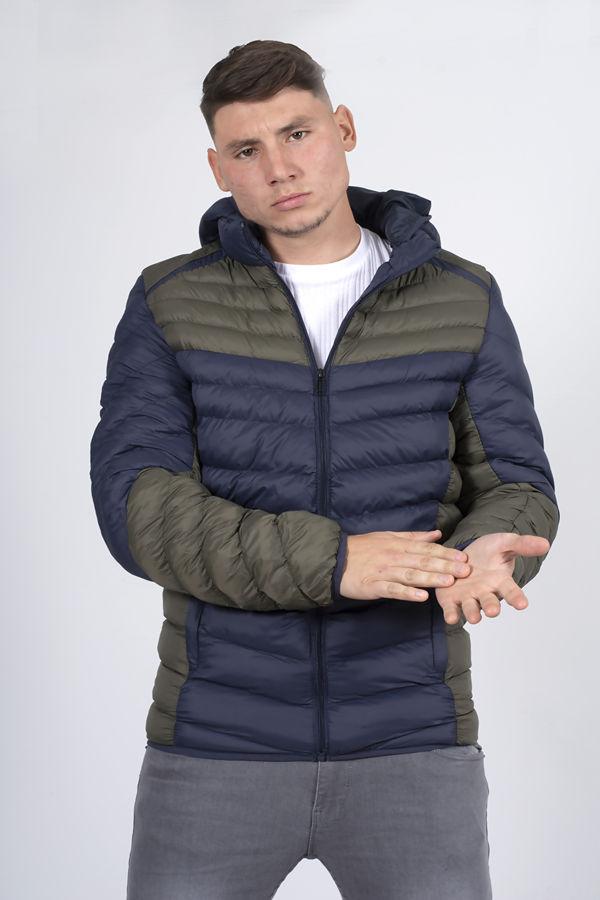 Navy With Khaki Two Tone Puffer Jacket