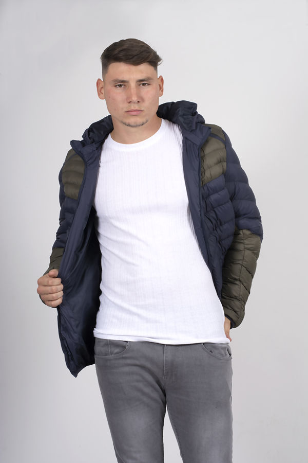 Navy With Khaki Two Tone Puffer Jacket