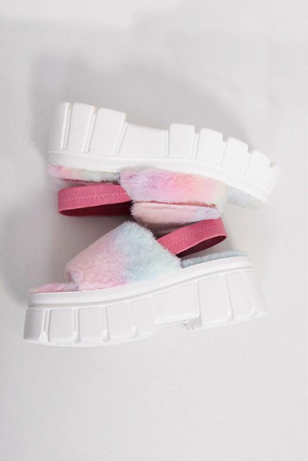 Rainbow Faux Fur Strap Chunky Platform Sandals
