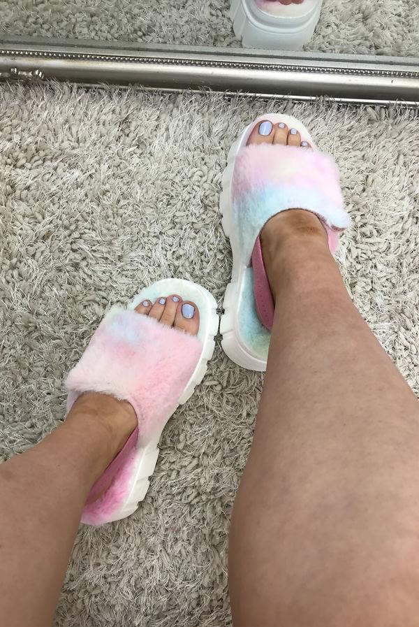 Rainbow Fluffy Velcro Strap Chunky Platform Sandals
