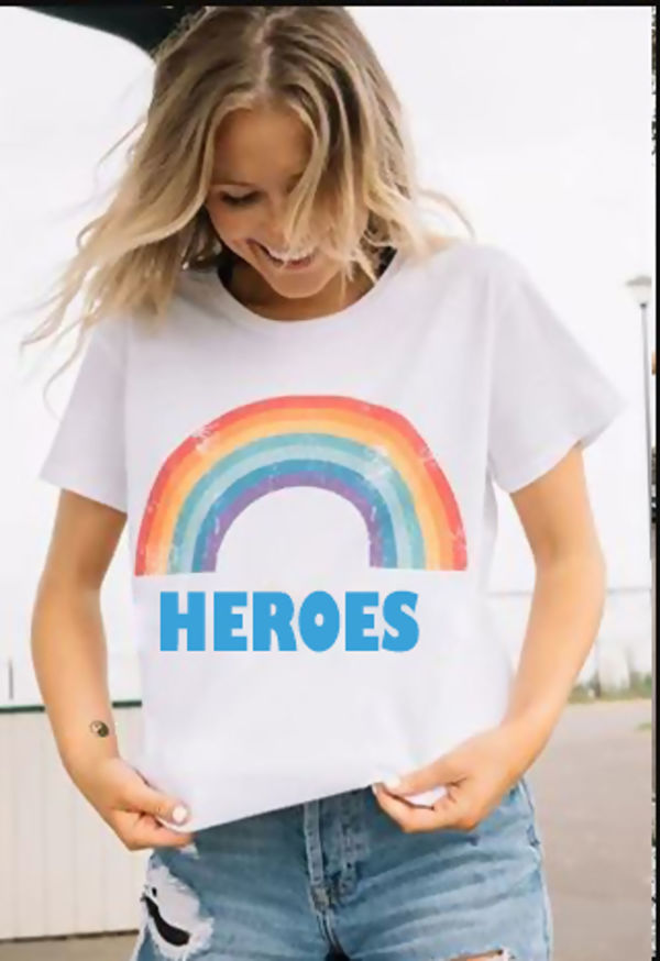 Red Rainbow NHS Heroes Tee Top
