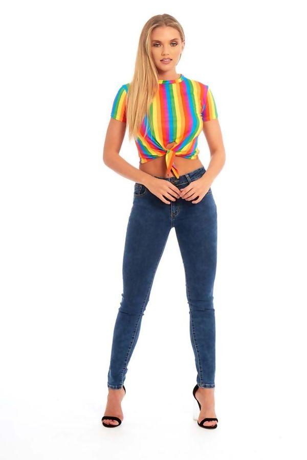 Rainbow Striped Tie Crop Top
