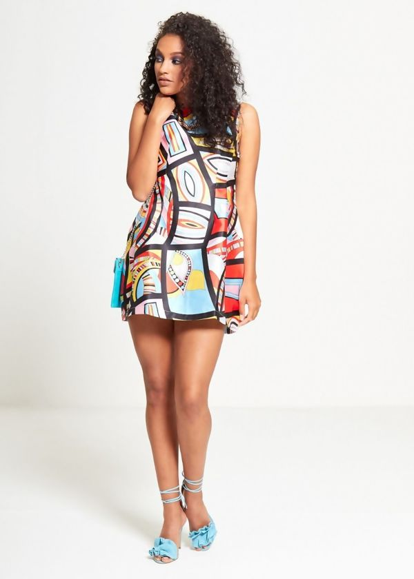 Red Abstracted Multi Mini Dress
