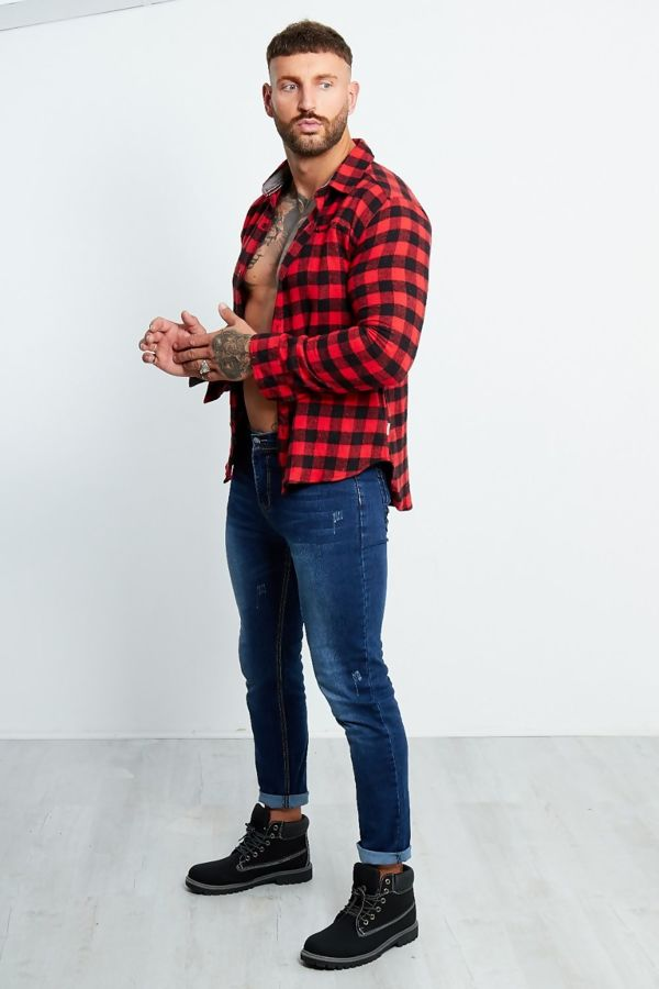 Red And Black Checked Thick Shirt