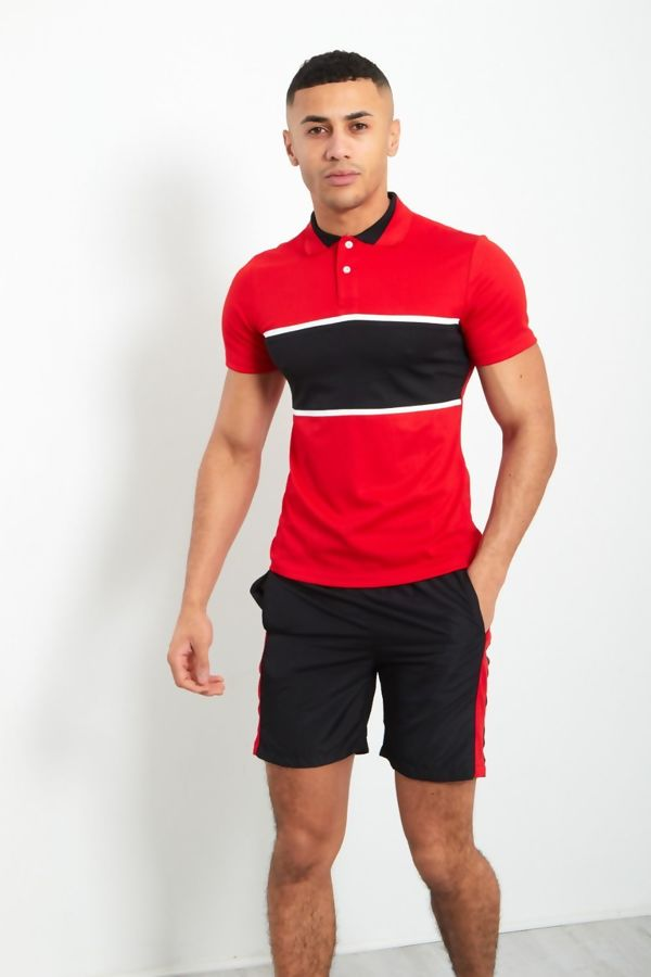 Red And Black Panel Polo Shirt And Shorts Set